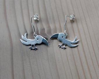 Parrot Dangles-Silver Dangles-Silver Earrings-Bird Earrings-Sterling Parrot Earrings-Forest Earrings