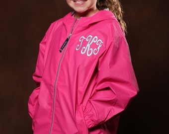 Monogrammed Youth Charles River Full Zip Rain Jacket - Girls Monogrammed Rain Jacket - Chest Monogram