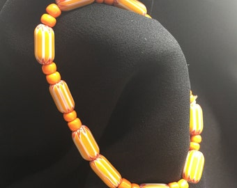 Orange and Yellow Circus Bead 21 in Stretch Bracelet