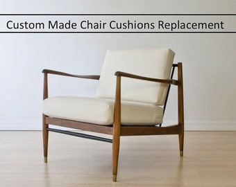 Custom Made Chair Cushions Replacement for Mid Century Modern Danish Chair - Canvas and Linen Handmade Replacement Cushions for Chair
