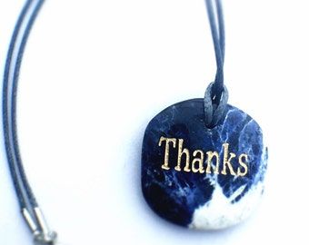 Thanks, Pendant, Sodalite Jewelry, Bohemian Necklace, Word Necklace, Inspirational Gift, Give Thanks, Quote Jewelry, Word Stone BOHO Jewelry