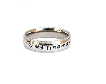 I Love My Lineman  - Ring Stainless Steel Hand Stamped Lineman Gift Heart Design Lineman Jewelry