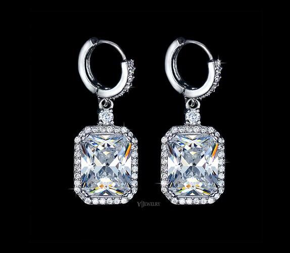 emerald cut earrings cubic zirconia earrings wedding