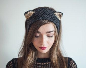 Knitted Winter Headband Gray Fox Cat hat Fox Ears warmer Kitty ears Halloween costume wool head wrap fashion turban gift for girlfriend