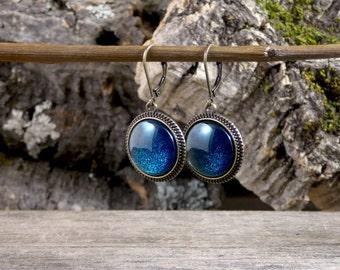 Dark blue earrings, Deep blue sparkly earrings, Royal blue earrings, Blue glitter earrings, Antique brass earrings Glass dome jewelry SJ 063