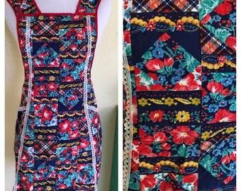 Vintage Mid-Century Apron. Vintage Full Apron. Multi Colored Vintage Apron. 1960's Apron. Unique Vintage Apron. Patchwork Apron. Retro Apron