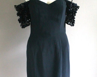 Lethal Little Black Dress- LBD - Strapless - Sequin - Small- XS - Sweetheart Neckline - Wiggle Dress