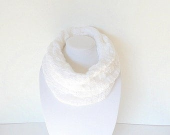 White Infinity Scarf, Knitted Scarf, Hand knit scarf, Cowl Scarf, Winter Scarf, Unique Handmade Scarf, Womens Scarves