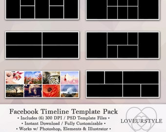 Facebook Template, Timeline Template Pack, Digital Template, Facebook Banner, Photo Collage, Photography Template, Instant Download
