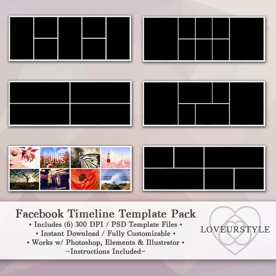 Facebook Template Timeline Template Pack Digital Template Facebook Page Timeline Example