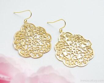 Gold filigree earrings, Big lace modern earrings, Large dangle gold metal lace earrings Spanish style boho earrings Bridal Bohemian earrings
