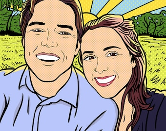 Custom Couple Portrait / Roy Lichtenstein style / Custom Portrait & Custom Background / For Digital Use and Personal Print