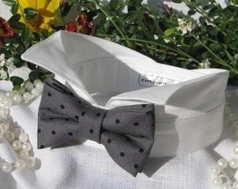 Dog Bow Tie Collar~Grey with Black Polka Dots~Wingtip Tuxedo Dog Collar~Dog Wedding Collar~Wedding Dog Attire~Dog BowTie~Dog Ring Bearer~