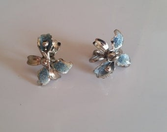Vintage Orchid Screw Back Earrings Tinted with Blue