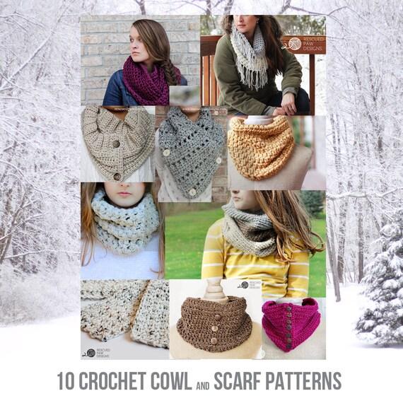 PDF Crochet Pattern E-book - 10 Crochet Patterns for Cowls & Scarves VOL 1.