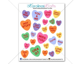 25 Conversation Heart Stickers! Perfect for your Erin Condren Life Planner, Filofax, Plum Paper & other planner or scrapbooking! #SQ00035