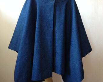 Steampunk Denim Skirt, Goth Punk Celtic Skirt,Steam Punk  Avant Garde Denim Skirt,Asymmetrical Denim Skirt