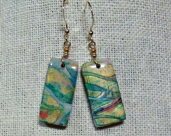 """Polymer Clay Earrings, """"Autumn Abstract"""""""