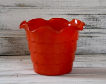 Fire King Tangerine Ruffled Flower Pot - Rainbow Collection