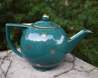 Hall Green Tea Pot With Gold Stars & Accents