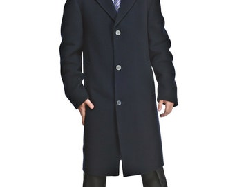Mens black wool and cashmere classic knee-length coat / M. 0503