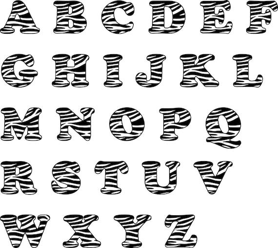 Zebra Svg Alphabet Font Zebra Digital Cut File Letters Zebra