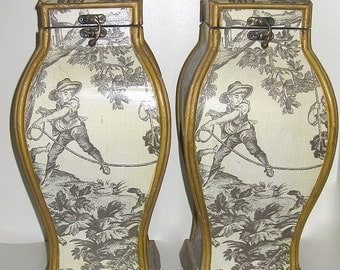 Pair of Vintage Tall Toile Covered Chinoiserie Boxes
