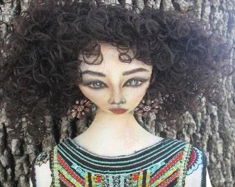 Handmade Doll, Cloth doll, One of a Kind doll, Curly Hair Cloth Doll, Cloth Doll