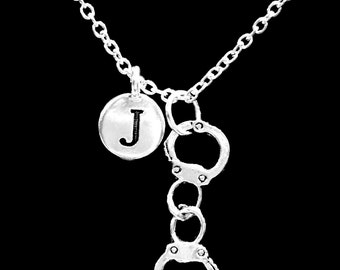 Gift For Her Or Him, Handcuff Initial Necklace, Best Friend Necklace Gift, Partners In Crime, Sister Necklace, Gift Necklace