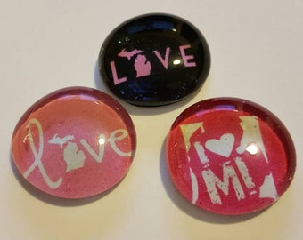 Set of 3 Strong Glass I love Michigan Magnets, State of Michigan, Refrigerator Magnets, Kitchen, Office, Decor, MI, Pure Michigan, Pink