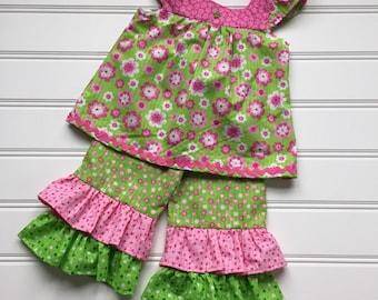 Toddler Ruffle Pants, Girls Ruffle Pants Set, girls Ruffle Pants, Girls Floral Top, Ruffle Pants Outfit, Toddler girl outfit, 4T