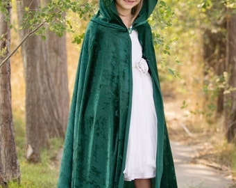Green Cloak / Green Cape / Green Hooded Cape / Medieval Costume / Forest Green Cloak
