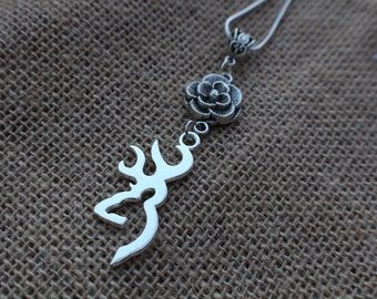 Silver Deer Head Necklace - Rose Necklace - Deer Jewelry - Bohemian Jewelry - Nature Jewelry - Country Jewelry - Buck And Doe Necklace