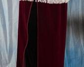 Wine Velvety Wrap Panel Skirt