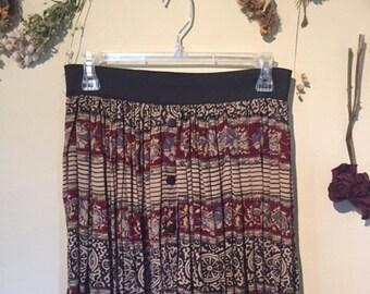 Easy Summer Pull On Cotton Indian Print Skirt