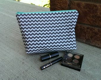 Cosmetic bag, turquoise and grey, lined makeup bag, zipper pouch, gift, chevron