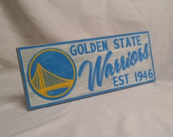 """Golden State Warriors wall sign, 6 1/2"""" x 17"""", distressed"""