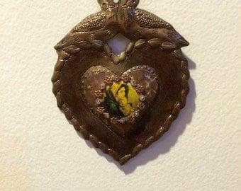 Virgin Mary Icon - sacred heart  - nicho - catholic art - religious art - mixed media - assemblage art - wall art - home decor - ooak