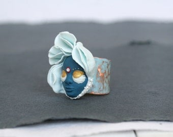 Blue Flower Ring, Fairy Flower Ring, Face Ring, Magic Jewelry,  Artisan Jewelry,  Miracles, Wonder, Fairy Tale, Faerie