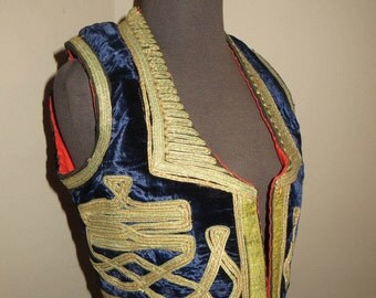 Pakistan Velvet Gold Braided Vintage Vest Mirrored Matador