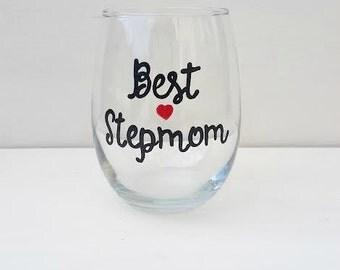 BEST STEPMOM handpainted stemless wine glass tumbler stepmom wedding gift gifts for stepmom