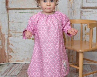 Sparkle Easter Bunny Behind Pink Quatrefoil Dress for Little Girl with Long Sleeves for Baby or Toddler