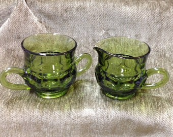 Indiana Glass Avocado Green King's Crown Thumbprint Creamer and Sugar, 2 Piece Set