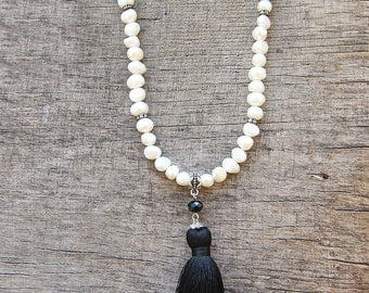 White Tassel necklace Long pearl necklace Fringe necklace Beaded necklace Statement necklace Boho Wedding Girl gift for girlfriend gift idea