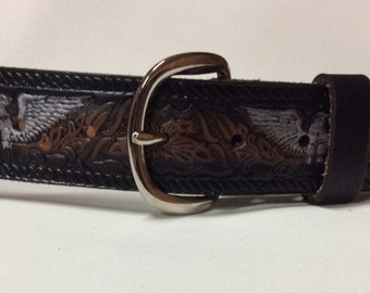 Personalized Leather belt / Hand Painted / Silver Eagle