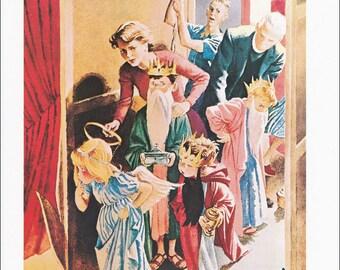 Christmas Pageant vintage fine art print 50s illustration for John Bull Magazine 1952 8.5x11.5 inches