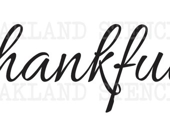 Thanksgiving Fall STENCIL**thankful**3 sizes to choose from for Painting Signs Pallets Wood Chalkboards Airbrush Harvest Crafts