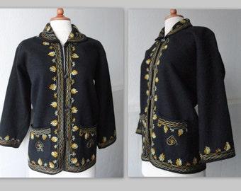 Embroidered 70s Vintage Wool Jacket