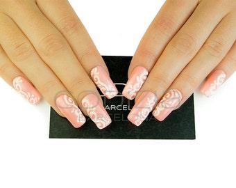 Sugar Effect Nails, Made with UV Gel, Fake Nails, False Nails, Press On Nails, Bridal Nails, Wedding Nails