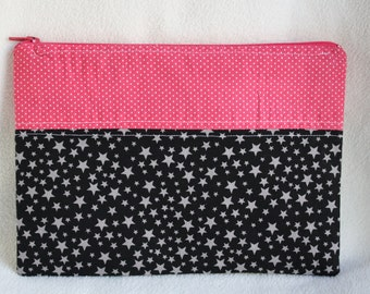 Stars & Dots Pink Black Grey White Zipper Bag Pouch Project Travel Patchwork Fabric Make up Brush Journaling